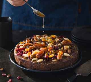 Christmas fruit cake with nuts & olive oil