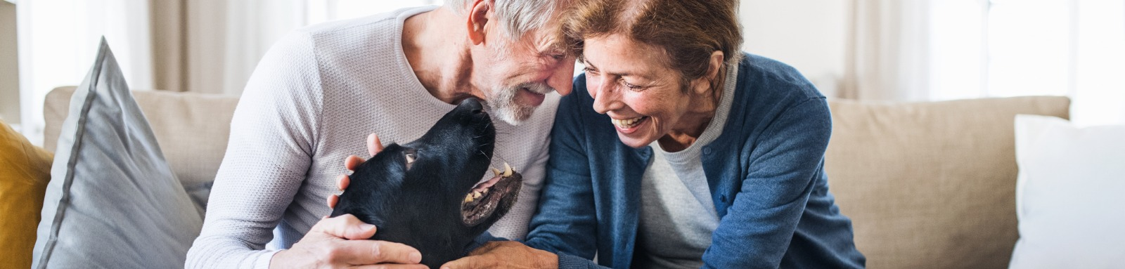 Older couple on couch patting dog