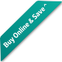 Badge saying Buy Online & Save^  offer in white colour text  on Apia Primary colour background